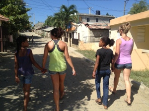 Tiffany and Kate, walking with a couple Dominican girls in Hato del Yaque, Dominican Republic.
